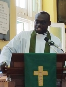 Father Tony delivering the sermon at the 6:30 a.m. Eucharist at St. John's Cathedral, Belize City.