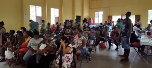 The Belizean community waiting to see one of the physicians.