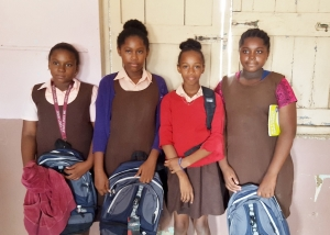Students with their new back packs.