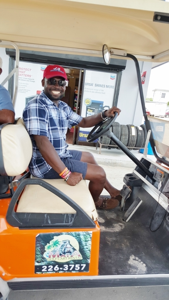 Driving a golf cart on the streets of San Pedro. Great fun!
