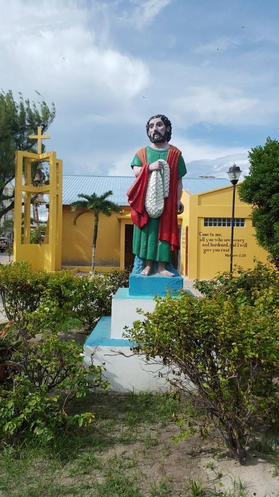 The Statue of San Pedro, outside of the Roman Catholic Church.